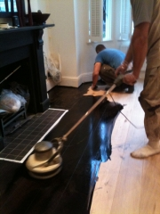 Wood Floor Staining by Buffer